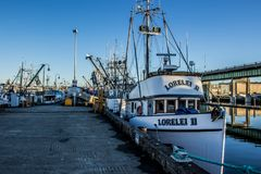 O barco de pesca comercial entrou no terminal do ` s do pescador em Seattle Washington fotografia de stock royalty free