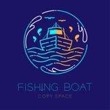 O barco de pesca, os peixes, a gaivota, a onda e do respingo da água linha ajustada do traço do curso do esboço do ícone do logot ilustração royalty free