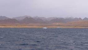 O barco de prazer com turistas está navegando no mar de tempestade no fundo das montanhas Egypt video estoque
