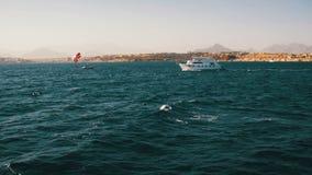 O barco de prazer flutua nas ondas do Mar Vermelho no fundo da costa e das praias em Egito filme