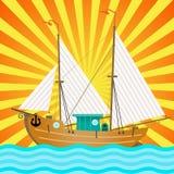 O barco de vela sobre raios de Sun ilustração do vetor