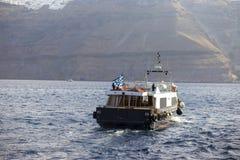 O barco do vapor do turista do passageiro no mar, navio de cruzeiros, Grécia Imagens de Stock