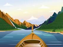 O barco no lago em uma região montanhosa com florestas vector a ilustração ilustração royalty free