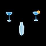 O barman ajustou o abanador e os cocktail Fotografia de Stock