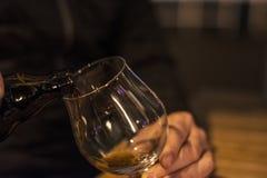 O barman está derramando a cerveja preta no vidro vazio Imagem de Stock Royalty Free
