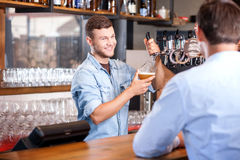 O barman novo atrativo está trabalhando na barra Imagens de Stock
