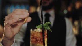 O barman profissional prepara o cocktail do mojito vídeos de arquivo