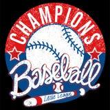 O basebol patrocina o emblema afligido liga fotografia de stock
