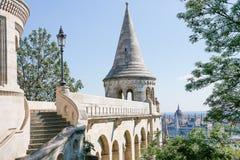 O bastião dos pescadores no verão Detalhes arquitectónicos Budapest, Hungria Fotos de Stock
