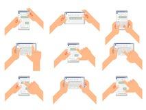 O bate-papo aceita o tipo da leitura envia a mensagem do gesto a mensagem de conversa da janela social do mensageiro móbil horizo ilustração do vetor