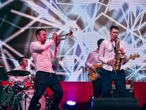 o Batta l'orchestra nella casa russa di sport ai giochi di Olimpyc Fotografia Stock Libera da Diritti