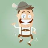 O bavarian engraçado dos desenhos animados é dançar tradicional Imagem de Stock Royalty Free
