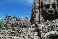 Caras de pedra de Bayon, templos de Angkor, Cambodia Foto de Stock