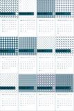 O bayoux do verde e do azul de mar profundo coloriu o calendário geométrico 2016 dos testes padrões ilustração do vetor