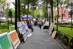 O bazar famoso de sábado na vizinhança do anjo de San em Cidade do México imagens de stock royalty free