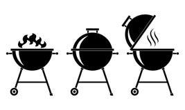 O BBQ das grades ajustou ícones ilustração stock