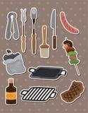 O BBQ utiliza ferramentas etiquetas Imagens de Stock Royalty Free