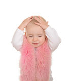 O bebé bonito vestiu-se na pele cor-de-rosa no fundo branco Fotos de Stock Royalty Free