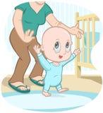 O bebê aprende andar - desenhos animados do vetor ilustração royalty free
