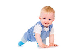O bebê aprende rastejar Imagens de Stock Royalty Free