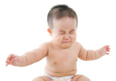 O bebê asiático está gritando Imagens de Stock Royalty Free
