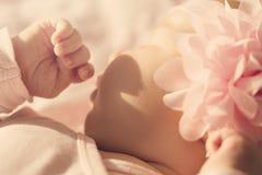 O bebê bonito pequeno encontra-se e dorme-se em sua cama, guardando o han fotografia de stock royalty free