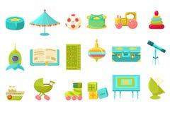 O bebê brinca o grupo grande, brinquedos prées-escolar das crianças e mobília para a ilustração do vetor do berçário ilustração royalty free