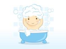 O bebê lava o cabelo Imagens de Stock