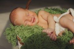 O bebê recém-nascido bonito é smling e de sono em uma cesta Imagens de Stock Royalty Free