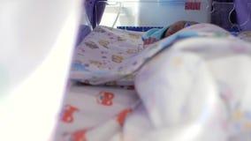 O bebê recém-nascido dorme em uma incubadora especial para bebês prematuros unidade de cuidados intensivos para crianças 4K v?deo filme