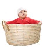 O bebê senta-se em uma cesta. fotografia de stock