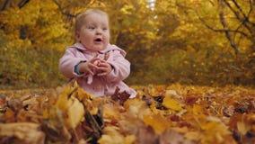 O bebê senta-se nas folhas de outono video estoque