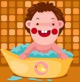 O bebê toma um banho de bolha Fotos de Stock Royalty Free