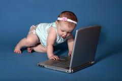 O bebê usa o computador Fotos de Stock