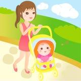 O bebê e a mamã vão para uma caminhada Fotografia de Stock Royalty Free