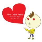 O beijo do menino dá desenhos animados vermelhos do vetor do coração Fotos de Stock Royalty Free
