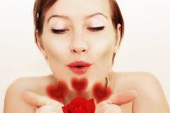 O beijo encantador para o vermelho levantou-se Foto de Stock