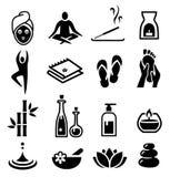 O bem-estar e relaxa ícones Foto de Stock Royalty Free