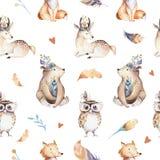 O berçário dos animais do bebê isolou o teste padrão sem emenda com bannies Raposa bonito do bebê do boho da aquarela, coelho ani ilustração royalty free
