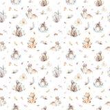 O berçário dos animais do bebê isolou o teste padrão sem emenda com bannies Raposa bonito do bebê do boho da aquarela, coelho ani ilustração stock