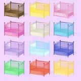 O berço, grupo da ilustração dos berços classificou as cores 3D no vetor EPS Fotografia de Stock