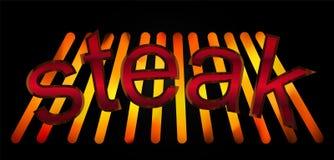 O bife abstrato do churrasco e o fundo escuro projetam o logotipo do negócio Fotos de Stock Royalty Free