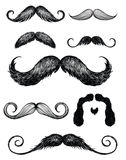 O bigode tirado mão ajustou 2 Fotos de Stock Royalty Free