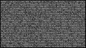 O binário em mudança encanta o código no tela de computador, mudando caoticamente Transferência de dados através do conceito da s video estoque