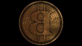 O bitcoin dourado gerencie a animação
