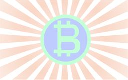 O bitcoin verde e azul com rad irradia a vinda atrás da moeda ilustração royalty free