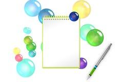 O bloco de notas vazio do festival com fundo das bolhas e das esferas da safira para cumprimenta a adição ilustração 3D Imagem de Stock