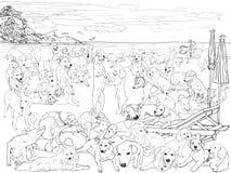 O bloco do cão na praia ilustração royalty free