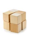 O bloco dos cubos de madeira Fotografia de Stock Royalty Free