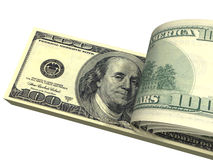 O bloco dos dólares com contas parafusadas isolou-se Foto de Stock
